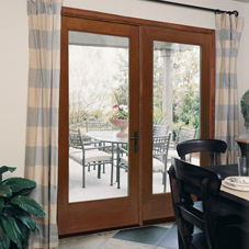 LAS Entry and Other Fiber Classic Oak Collection Clear Glass Doors