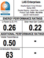 LAS Fixed Windows Energy Performance Ratings No Hinge