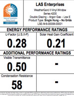 LAS Single Hung No Grids Energy Performance Ratings